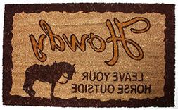 J & M Home Fashions Howdy Leave Your Horse Vinyl Back Coco D