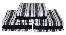 "Cotton Stripe Dish Towels 18x28"", Set of 3, Absorbent Durabl"