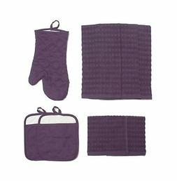 Cotton Kitchen Dish Towels, Pot Holder and Oven Mitt, Set of
