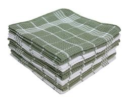"""Cotton Waffle Checkered Terry Dish Cloths, 13x13"""" Set of 12,"""