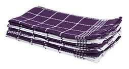 """Cotton Waffle Checkered Terry Dish Towels, 18x25"""" Set of 6,"""
