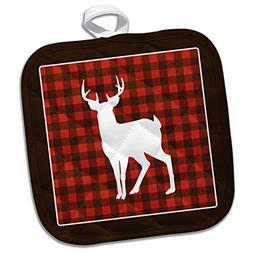 "3dRose Buffalo Plaid Buck Potholder, 8 x 8"""