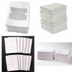 Kaf Home Set 12 Flour Sack White Kitchen Towels 100Percent C