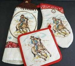 Kay Dee Happy Trails Cowboy Horse Western 3 Pc Kitchen Towel
