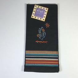 KD Embroidered Southwest Cactus Black KITCHEN Dish Tea TOWEL