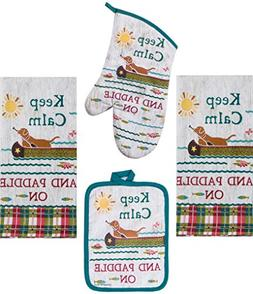 Kay Dee Keep Calm and Paddle Set - 2 Towels, Oven Mitt, Poth