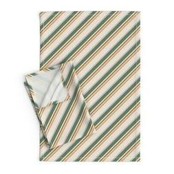 Kids Crafts Diagonal Stripes Linen Cotton Tea Towels by Roos
