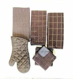 Kitchen 2 Towels 2 Dishcloths Drying Mat Oven Mitt Set of 6