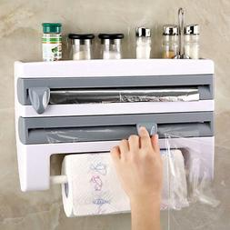 Kitchen 4 In1 Holder Roll Cling Foil Towel Cutter Spice Rack