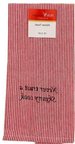 "Home Concepts Kitchen Bistro Towels 15""x25"" Striped Set 4 Bl"
