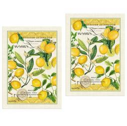 """Lemon Basil"" Kitchen Cotton Towel 20""x28"" Hanging Loop Mich"