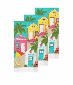 Kitchen Dish Drying Towels Pink Flamingo Beach House Set of