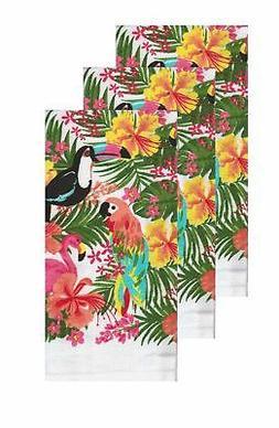 Kitchen Dish Drying Towels Tropical Birds Toucan Flamingo Pa