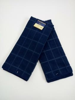 Kitchen Dish Hand Towels Windowpane Brand New Solid Dark Blu