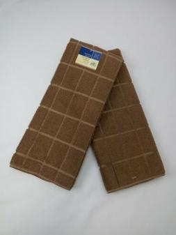 Kitchen Dish Hand Towels Windowpane New Solid Taupe Light Br