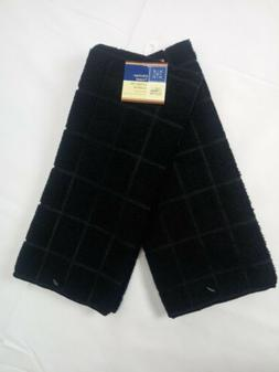 Kitchen Dish Hand Towels Windowpane Brand New Solid Black Co
