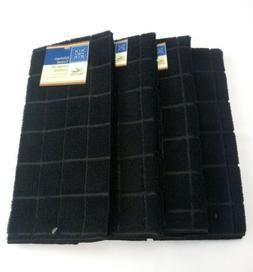 Black Kitchen Dish Hand Towels Set of 4! Windowpane Solid Bl