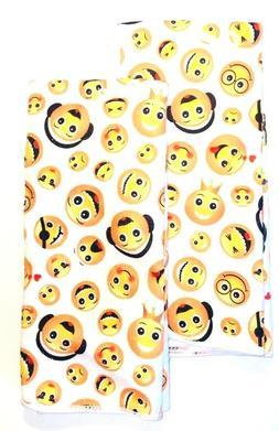 Kitchen Dish Hand Towels Emoji Faces Yellow Set of 2 15 x 25