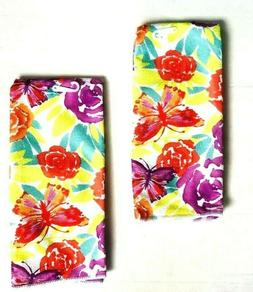 Kitchen Dish Hand Towels Set of 2 Multi Colored Flowers 15 x