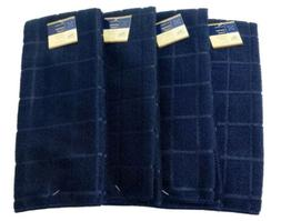 Kitchen Dish Hand Towels Solid Dark Blue Color. Lot of 4. A+