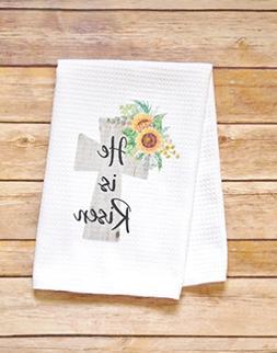 Kitchen Dish Towel - Easter He Is Risen - Sunflower Cross