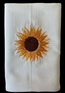 Kitchen Dish Towel Flour Sack Machine Embroidered Sunflower
