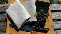 Beach House Linen 3 Pack Linen Kitchen Dish Towel - Black, F