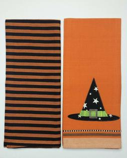 DII Kitchen Dish Towel Set 2 Cotton Halloween Witch Hat Them
