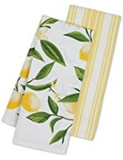DII Kitchen Dish Towel Set 2 Lemon Bliss Yellow Green Lemon