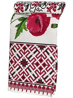 Kitchen Dish Towel with Vintage Poppy Design for Kitchen Dec