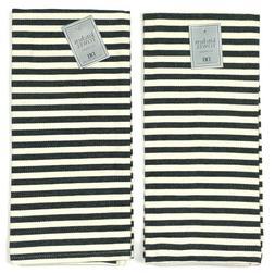DII Design Imports Kitchen Dish Towels Cotton Set of 2 - Bla