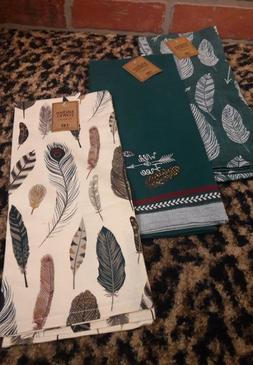 Dii Kitchen Dish Towels LOT of THREE 3 Peacock FEATHERS Wild