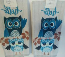 MAINSTAYS Kitchen Dish Towels SET of 2 Terry Cloth Hello Owl