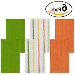 DecorRack Set of 6 Kitchen Dish Towels, 100% Cotton, 16 x 28