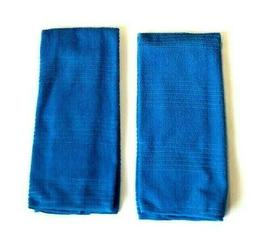 Kitchen Hand Dish Towels Ocean Blue Solid Color Set of 2 15