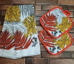 Kitchen Hand Towels & Pot Holders Set Modern Hipster Fern Th