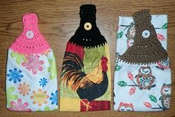 Kitchen Hand Towels, Crocheted Top You Pick Design, Handmade