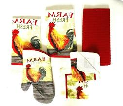 Kitchen Hand Towels Oven Mitt Drying Mat Dishcloths Rooster