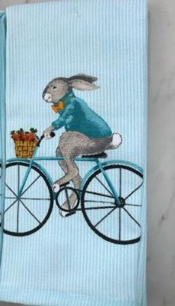 Well Dressed Home Kitchen Hand Towels Set Of 2  EASTER BUNNY