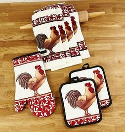 kitchen linen rooster theme set with towels