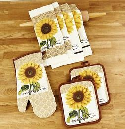 Kitchen Linen Sunflower Theme Set with Towels, Mitt, and Pot