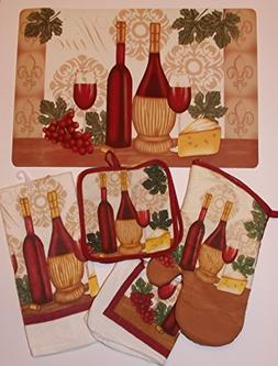 Kitchen Linen Set of 10 Vintage Wine Theme Design Includes 2