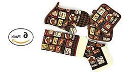 Kitchen Linens - Coffee Cafe - Towel Linen Set of 6 Pieces C
