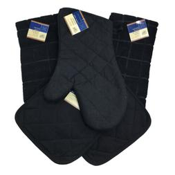 Home Collection Kitchen Set 5 Pieces Solid Black Oven Mitt P