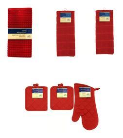 Kitchen Set Towel Mitt Pad Drying Mat 6pc Set~Choose Color