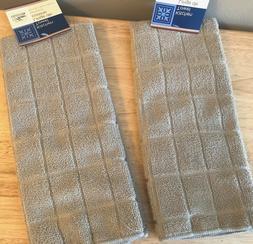 Kitchen Set Towels Taupe Beige 2 Piece Set Lot Windowpane De