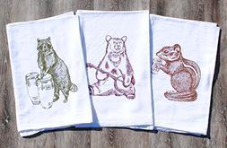 Kitchen Tea Towel Set of 3 - 100% Cotton Flour Sack Material