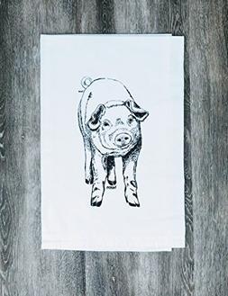 "Kitchen Tea Towel - Black Ink Print - 26"" x 25"" - Flour Sack"