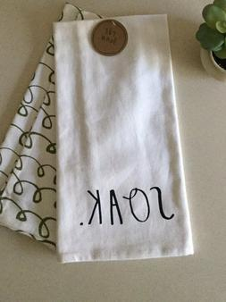 Rae Dunn Kitchen Tea Towels SOAK Set/2 NEW WITH TAGS