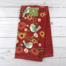 kitchen towel fall flowers bluebirds terry cloth